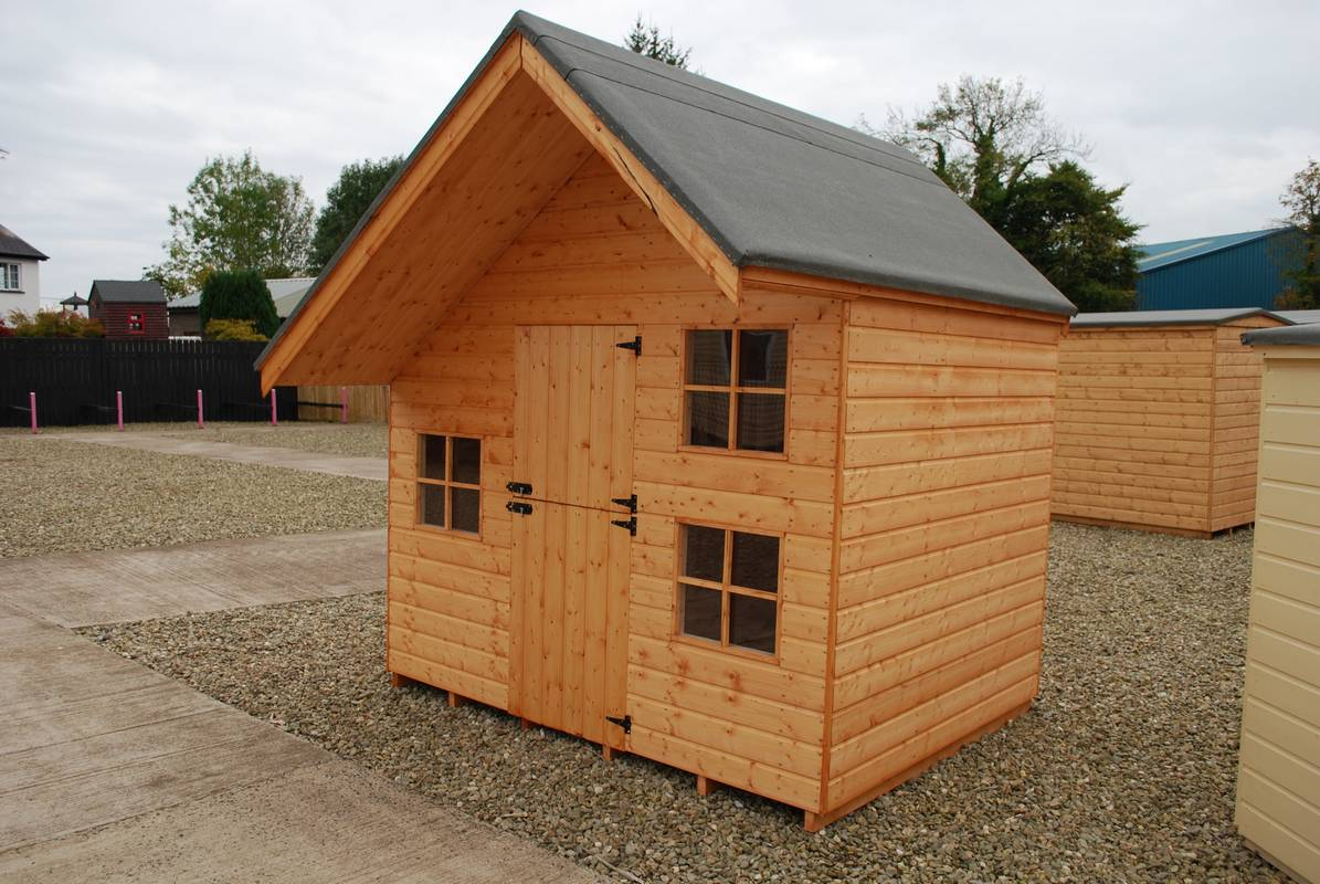 Zekaria childrens wooden sheds for Wooden playhouse with garage